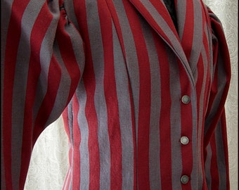 One of a Kind Edwardian Ringmistress - Crimson Grey Striped Fit and Flare Jacket by Kambriel - Brand New and Ready to Ship