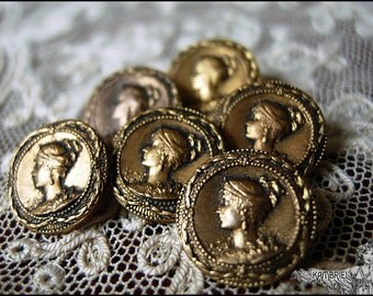 "Antique French Victorian Art Nouveau Empress Metal Button - Napoleon III - Petite 1/2"" Size - sold individually, up to 6 available"