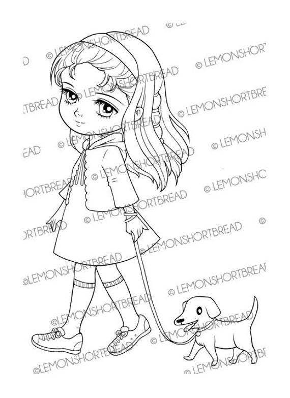 Girl Walking Dog Digital Stamp Puppy Digi Stamp by ...