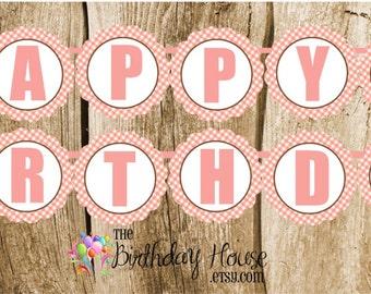 Farm Friends Party - Custom Pig Happy Birthday Banner by The Birthday House