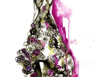 Roses de McQueen // Limited Edition giclée print from an original watercolour fashion illustration by Holly Sharpe