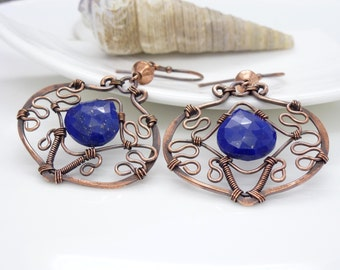 Blue lapis lazuli earrings, Wire wrapped copper earrings, bright royal blue lapis lazuli copper jewelry