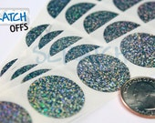 Scratch Off Stickers 100 Silver 1 inch Round GLITTER scratch-off labels for games and promotions
