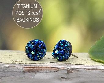 Glitter Stud Titanium Earrings - Blue Teal Black - 10mm Faux Druzy on Titanium Posts