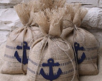 Burlap Gift Bag or Treat Bags, Set of Four, Nautical or Beach Themed Parties, Baby Showers, Jute Webbing, Hand Painted Navy, Wooden Anchor.