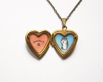Tabby Cat Pendant - Personalized Pet Jewelry - Custom Cat Name Heart Locket Necklace