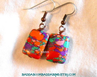 Rainbow Mosaic Earrings Turquoise Drop Beaded  Rectangle Surgical Steel Magnesite Howlite Gemstone Beads