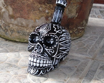 Day Of The Dead Painted Glass Sugar Skull Tequila Vodka Whiskey 350ml decanter bottle