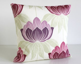 Floral pillow cover, 16x16 Throw Pillow, Purple and Pink Cushion Cover, Couch Pillows, Scatter Cushion - Lotus Berry