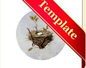 Bird's Nest Round Label, Nest Sticker Template, U-print