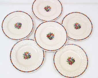 Antique Gainsborough Crown Ducal, Bread and Butter Plates, Salad Plates, Charm Pattern - Set of 6