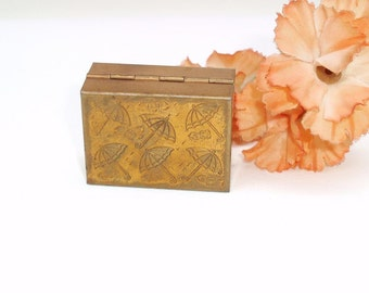 Vintage Brass Box, Umbrella Art, Rain Bonnet Keeper, Purse Accessories, Small Brass Case