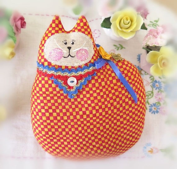 Cat Pillow Doll Cloth Doll 7 inch RED and YELLOW Check Primitive Soft Sculpture Handmade CharlotteStyle Decorative Folk Art