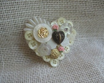 Vintage Heart Button Brooch, Plastic Mother of Pearl & Metal Brooch, Off White, Lapel Pin, Heart Pin, Jewelry, Gift for Her MyVintageTable