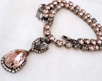 Blush gray necklace,blush gray crystal necklace,Statement necklace,swarovski,blush pink bridal necklace,Bridesmaids gift,blush wedding