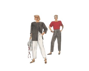 1980s Asymmetrical Jacket, Boxy Top & High Waist Pleated Tapered Pants Vogue 8957 Uncut Very Easy Separates Sewing Pattern Bust 31-34