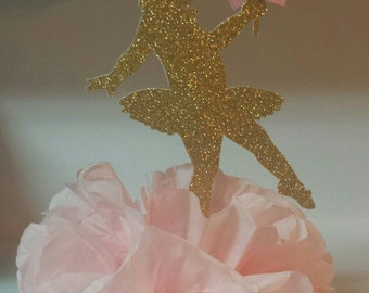 Gold glitter Ballerina birthday party or baby shower centerpiece
