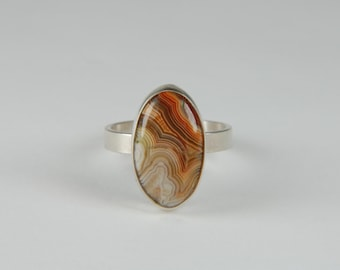 Lace Agate Ring Size 6 Natural Stone Ring Artisan Ring Handmade Sterling Silver Ring Large Statement Ring