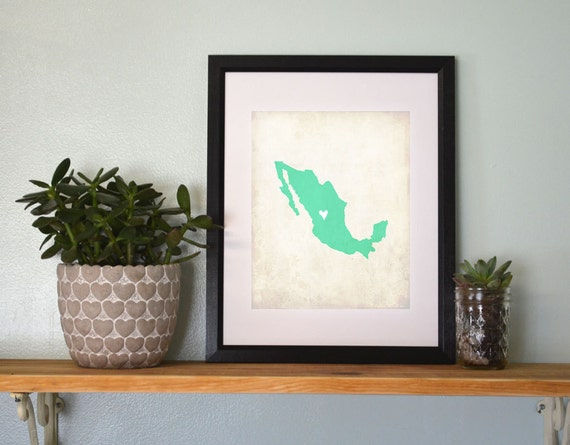 Mexico Personalized Country Map Art 8x10 Print. Vacation Map. Honeymoon Map Art. Honeymoon Gift. Wedding Map. Wedding Gift.