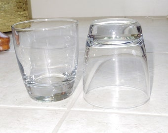 """2 LIBBEY ROCKS PREMIERE Double Fashioned Glasses Tumblers Heavy Clear Thick Bottoms 4"""" Tall Plain Clear Unused Excellent Condition"""