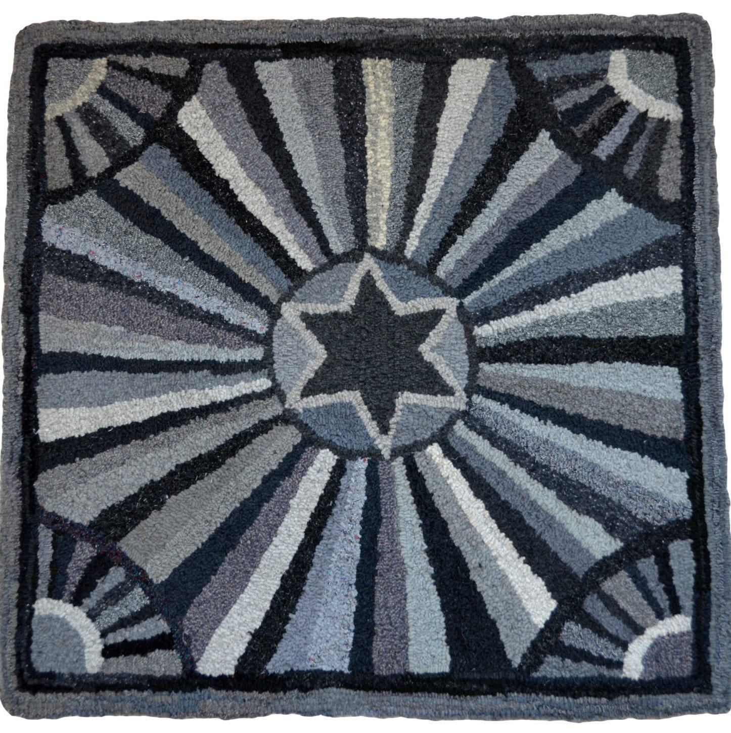 Hand hooked wool rag rug grey black crazy star with fans for Crazy carpet designs