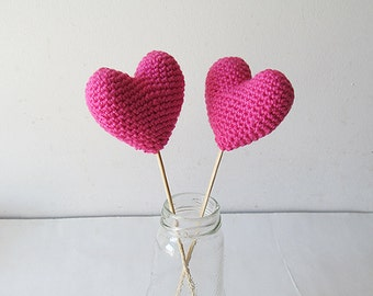 Amigurumi Crochet Vivid Pink Heart (Set of 2) - Cake topper - Wedding table decor - Birthday party decoration