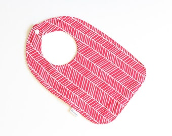 SALE || Baby Bib || Herringbone Stripes Pink