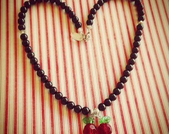 Cherry Cola - black pearl necklace with red cherries pendant
