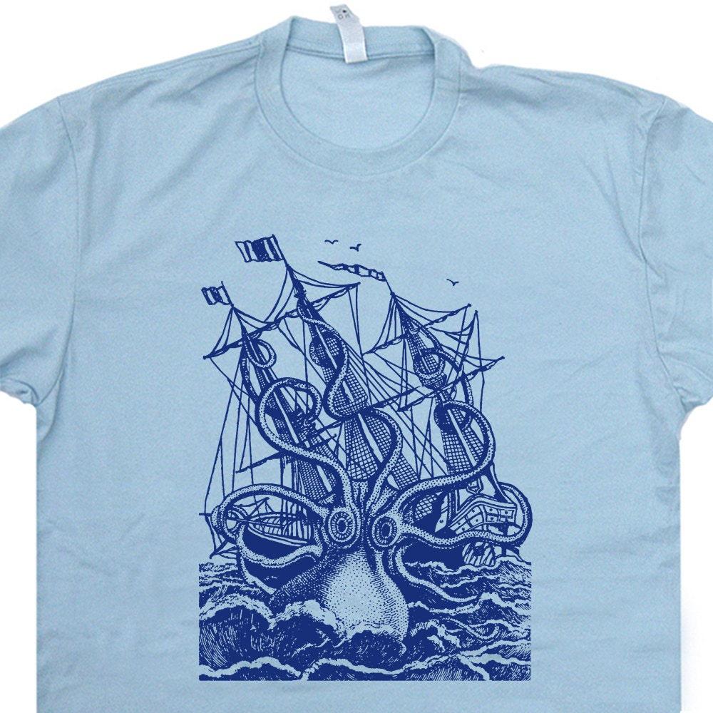 Shirt design octopus - Giant Octopus T Shirt Vintage Sailing T Shirt Sailor Sea Captain Kraken T Shirt Creature Retro Nautical Navy Anchor Mens Womens Kids Tees