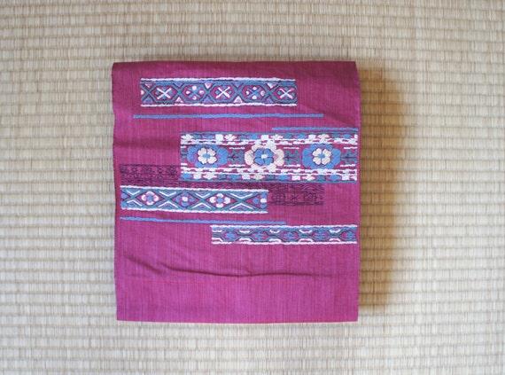 SALE ++ Japanese obi belt pink embroidery, woven Nagoya obi, Hitoe obi, vintage silk obi, informal kimono belt pink