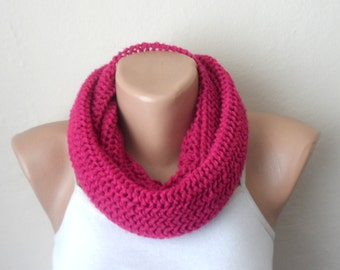 fuchsia pink knit infinity scarf pink circle scarf loop scarf womens gift winter scarf winter accessories gift for her