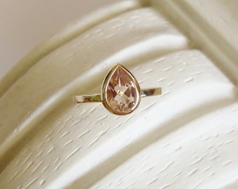 Morganite Pear Gemstone Ring - Made to Order, low profile, 14K rose gold, white or yellow, Non Traditional Engagement