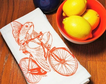 Dinner Napkins - Screen Printed Cotton - Orange Fish Vintage Bicycle Table Napkin - Washable and Reusable - Eco Friendly
