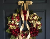 Blended Christmas Hydrangea Wreath | Dark Burgundy Hydrangeas | Front Door Wreaths | Wreaths | Holiday Door Wreath | Christmas Wreath
