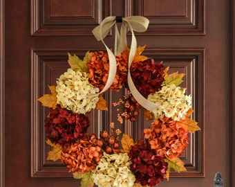 Fall Wreath | Fall Decor | Hydrangea Wreath with Fall Foliage & Pomegranate Berries | Front Door Wreaths | Outdoor Wreath | Autumn Wreath