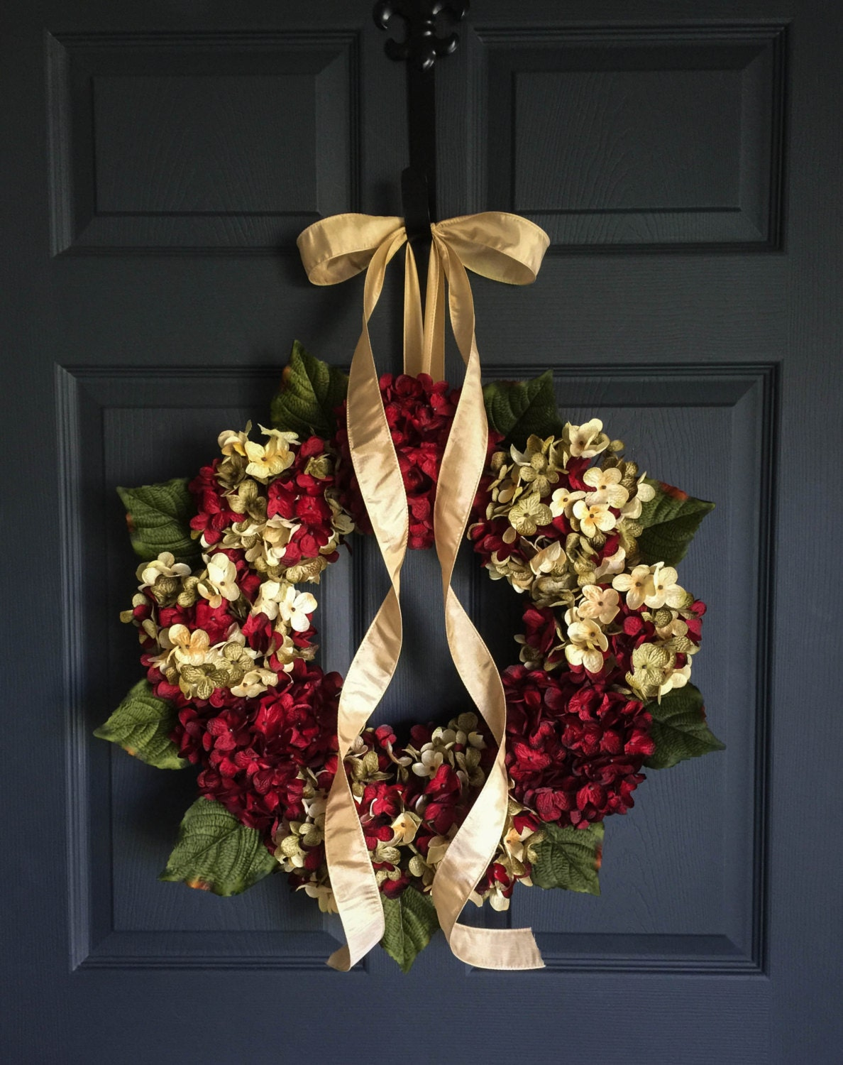 Beautiful Wreaths Blended Hydrangea Wreath Cranberry Red