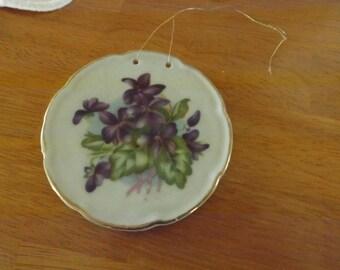 Vintage Violets Bouquet Porcelain Plate Made in Japan, Violets, Bouquet, Porcelain Plate, Japan, vintage wall hanging, floral decor, purple