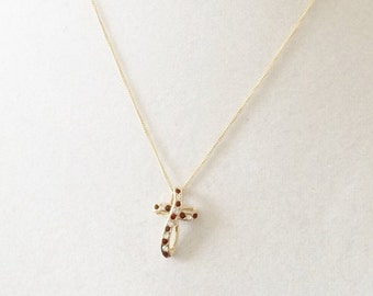 Sterling Silver Gold Plated Cross Necklace With Red And Clear Rhinestones 18""