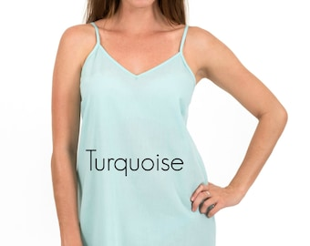 "Spirituelle ""Celine"" Cotton Voile Dress Slip - Front & Back Darts in Turquoise  S - 3XL"