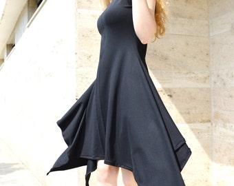 Black  Dress/ Asymmetrical  Dress/ Little Black Dress/ Party Dress/ Unique Midi Dress zm078