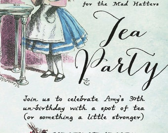 Printable Alice in Wonderland Birthday Party Invitation, featuring the beautiful illustrations of Lewis Carroll. Customize with your details