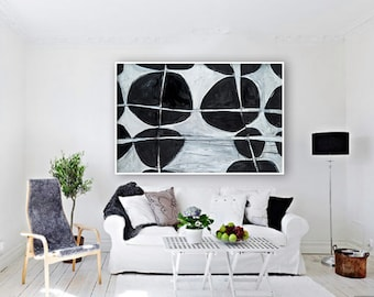 "Extra Large Giclée PRINT, Abstract print of large original painting, Contemporary Art. Black and White colours. ""Bubbles"""