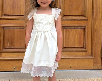 Ivory and Lace Romantic Rustic Wedding Flower Girl Sundress Size 12 months to Size 6
