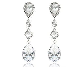 Wedding Jewelry Long Bridal Earrings Cubic Zirconia Teardrop Earrings Statement Earrings Sterling Silver Wedding Earrings Bridal Jewellery