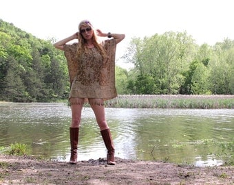 Cashmere & Silk Hippie Bohemian Mini Dress Tunic in Gold Tan Indian Boho Chic Style Fringe One Size Fits All Kaftan Caftan OSFA