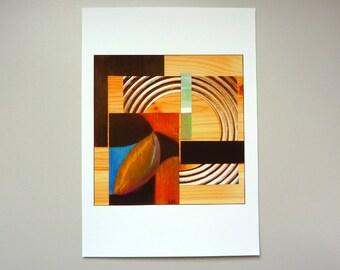 Red and Black Art Print, mixed media assemblage - Home Décor wall art, Modern art print