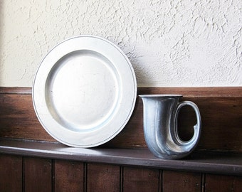 Vintage Pewter Type Dinner Plate - York Metalcrafters - Matte Finish - Colonial Style - Primitive Dining Platter - Historical Reenactment