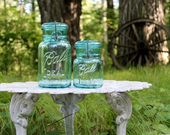 2 Vintage Aqua Ball Ideal QUART & PINT Jars - Ball Glass Jar and Lid w/Wire Bail - WEDDING Decor - Cottage Chic - Insurance w/ Shipping