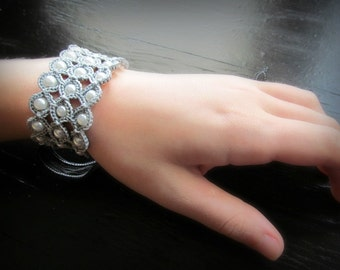 Crochet Jewelry, Bohemian Bracelet or Cuff, Soft Grey and white pearl shades - adjustable