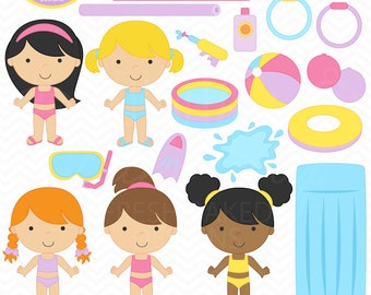 pool party digital clipart clip art girls kids swimsuit swmming toys summer birthday beach ball tubes water sun - Pool Party Girls Clip Art